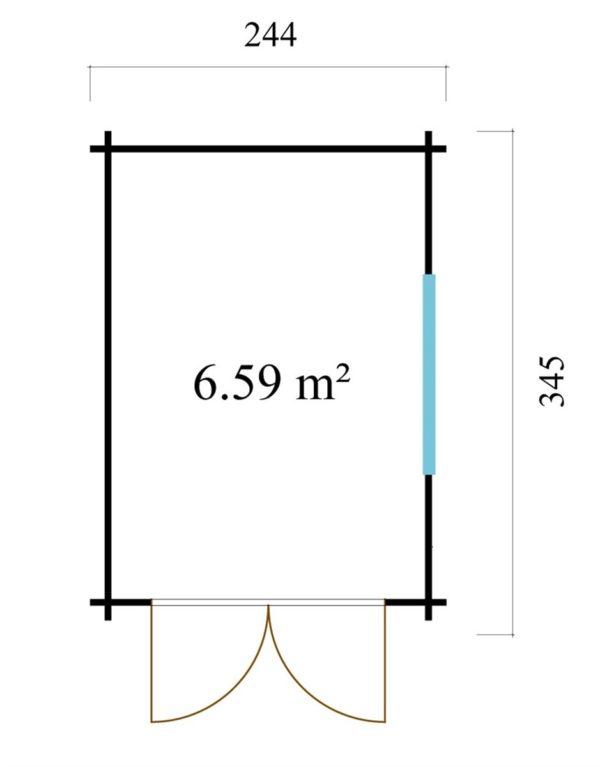 Wooden garden shed STEVE 44 | 2.5 x 3.5 m (8' x 11'4'') 44 mm 8