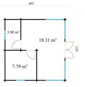 Three-room garden annexe TAUNUS 70 | 7 x 6.3 m (22'7'' x 20'8'') 70 mm 10