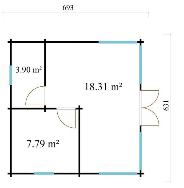 Three-room garden annexe TAUNUS 70 | 7 x 6.3 m (22'7'' x 20'8'') 70 mm 9