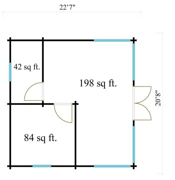 Three-room garden annexe TAUNUS 70 | 7 x 6.3 m (22'7'' x 20'8'') 70 mm 8