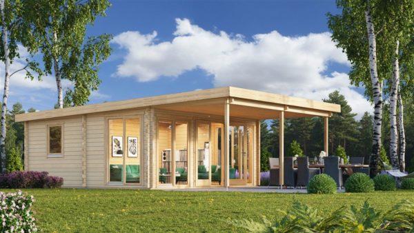 Garden annexe with a veranda TAUNUS 70 + TC | 9.2 x 6.3 m (29'11'' x 20'8'') 70 mm 1