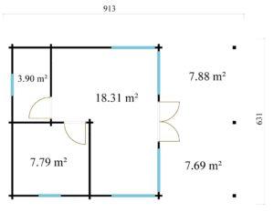Garden annexe with a veranda TAUNUS 70 + TC | 9.2 x 6.3 m (29'11'' x 20'8'') 70 mm 11