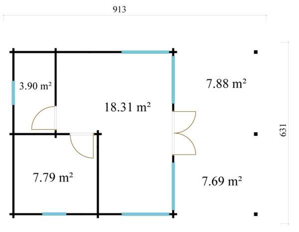 Garden annexe with a veranda TAUNUS 70 + TC | 9.2 x 6.3 m (29'11'' x 20'8'') 70 mm 9