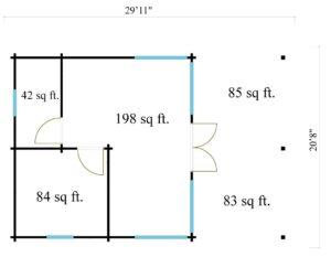 Garden annexe with a veranda TAUNUS 70 + TC | 9.2 x 6.3 m (29'11'' x 20'8'') 70 mm 12