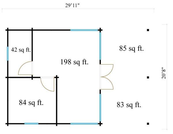 Garden annexe with a veranda TAUNUS 70 + TC | 9.2 x 6.3 m (29'11'' x 20'8'') 70 mm 10