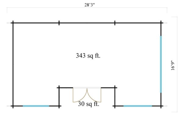 Spacious log cabin URI 44 | 8.6 x 5.1 m (28'3'' x 16'9'') 44 mm 6
