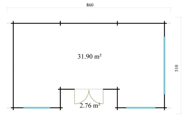Spacious log cabin URI 44 | 8.6 x 5.1 m (28'3'' x 16'9'') 44 mm 8