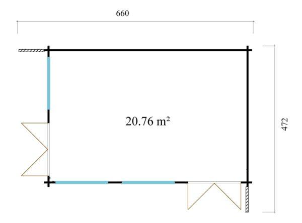Modern wooden home office LISA B 44 | 6.6 x 4.7 m ( 21'8'' X 15'6'') 44mm 6