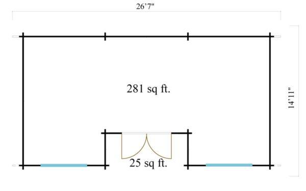 One-room log cabin WALLIS 44 | 8.1 x 4.6 m (26'7'' x 14'11'') 44 mm 7