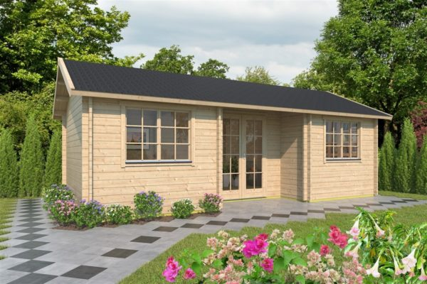 Family log cabin WALLIS 70 | 8.1 x 4.6 m (26'7'' x 14'11'') 70 mm 1