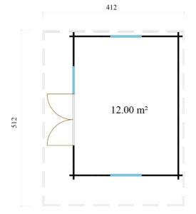 Cosy wooden garden room YORK 70 | 4.1 x 5.1 m (13'6'' x 16'10'') 70 mm 8