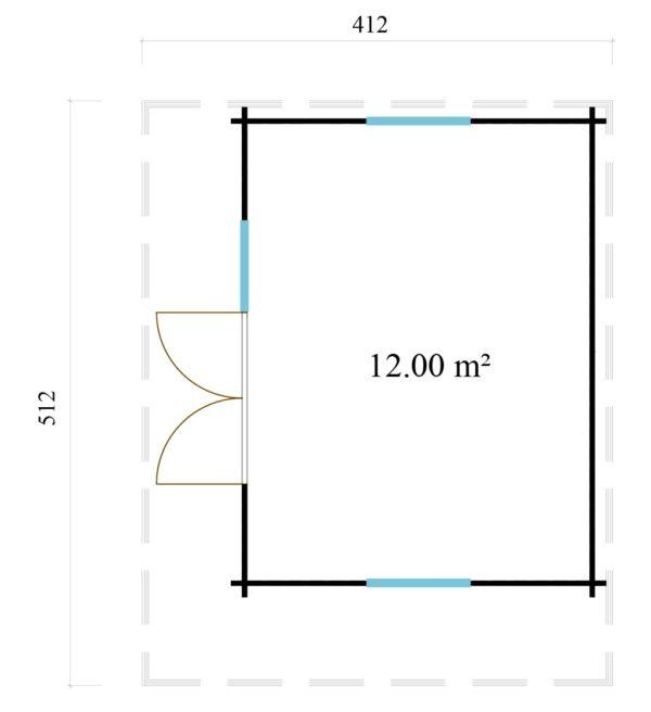 Cosy wooden garden room YORK 70 | 4.1 x 5.1 m (13'6'' x 16'10'') 70 mm 6