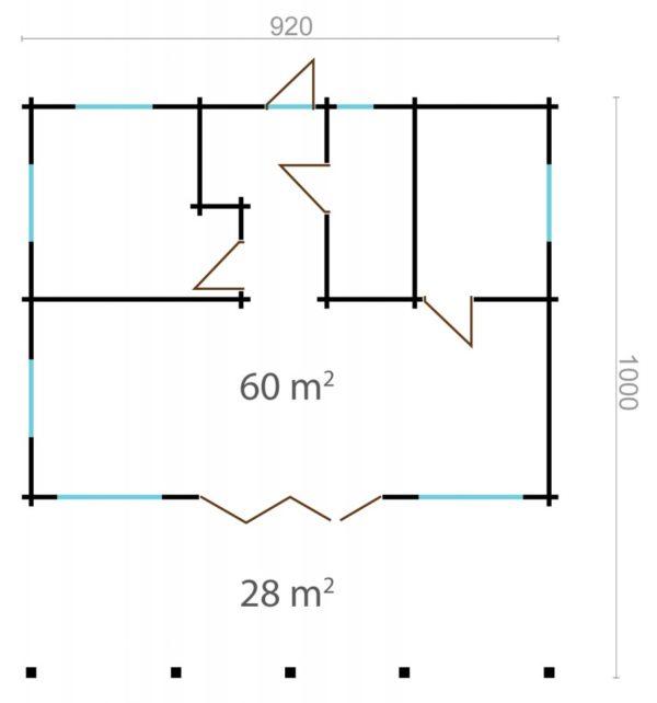 CAROLINE - LOG CABIN WITH BIG WINDOWS 9.2m X 10m 10