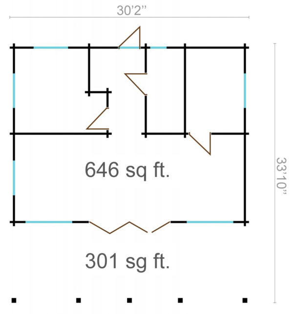 CAROLINE - LOG CABIN WITH BIG WINDOWS 9.2m X 10m 9