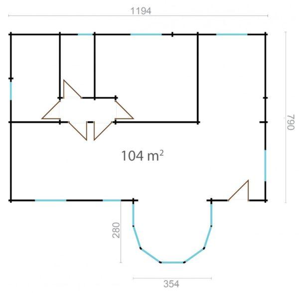 VITORIA - SPACIOUS LOG CABIN 11.9m X 7.9m 8