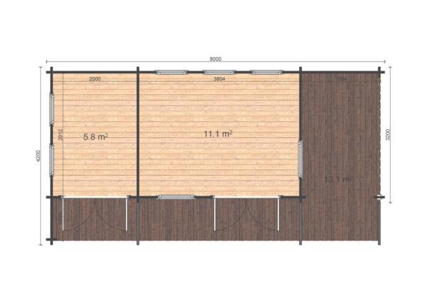 CARLOW LOG CABIN   4.2m X 8m 10
