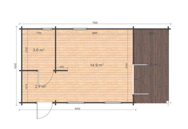 HOWTH LOG CABIN   4m X 7.8m 7