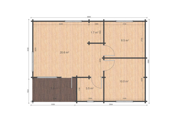 TRALEE LOG CABIN   6.3m X 8.8m 14