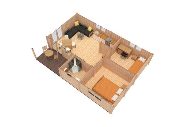 TRALEE LOG CABIN   6.3m X 8.8m 18