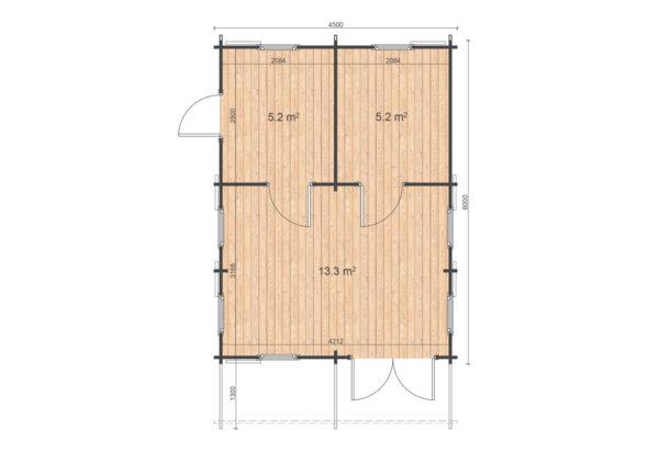 DUNDALK LOG CABIN   4.5m X 6m + LOFT 13
